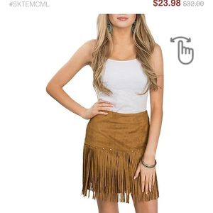 Fornia Brown Fringe Skirt brand new with tags